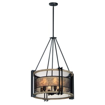 Maxim Boundry 6-Light Chandelier in Black and Barn Wood