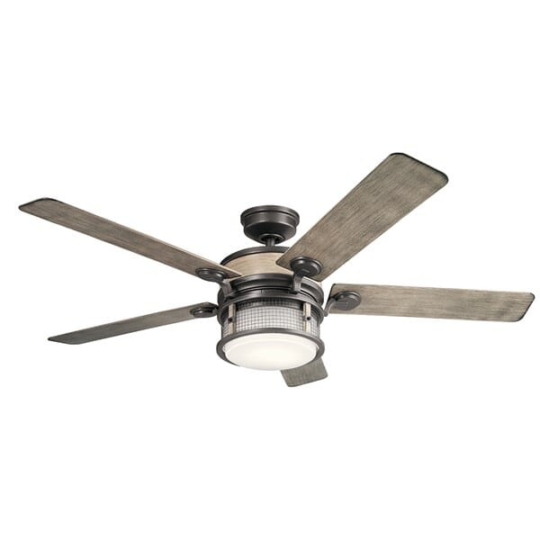 Kichler Ahrendale 1-Light 60-inch Outdoor Ceiling Fan in Anvil Iron
