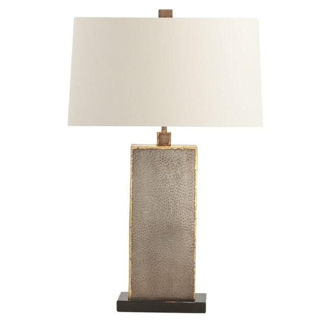 Arteriors Graham 28 White Shade Lamp, Brass Square Base Table Lamp