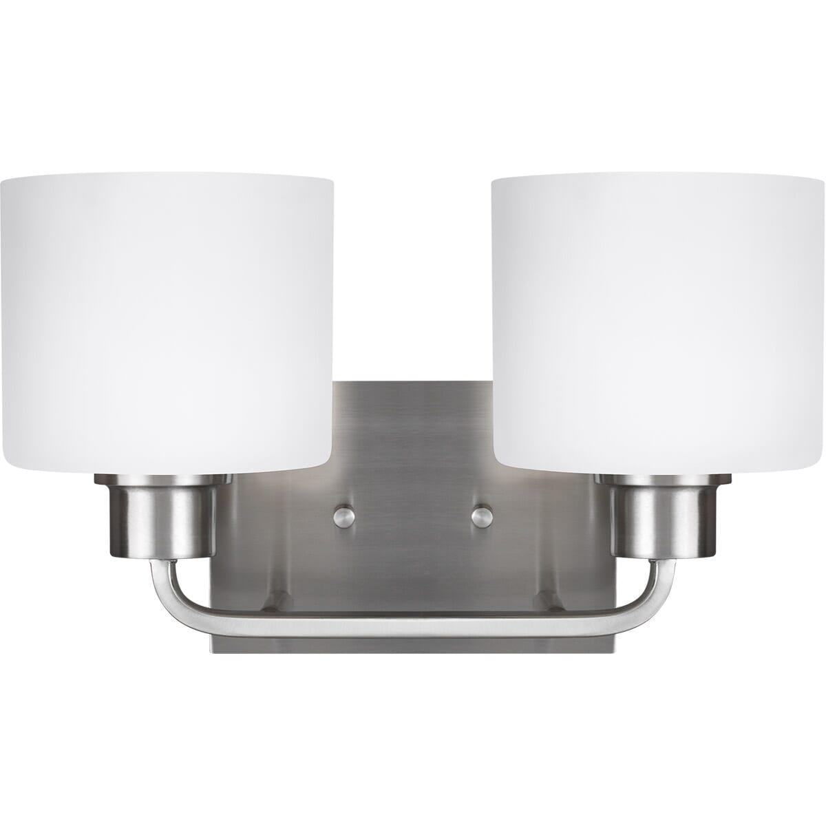 Sea Gull Canfield 2 Light 14 Bathroom Vanity Light In Brushed Nickel Lightsonline Com