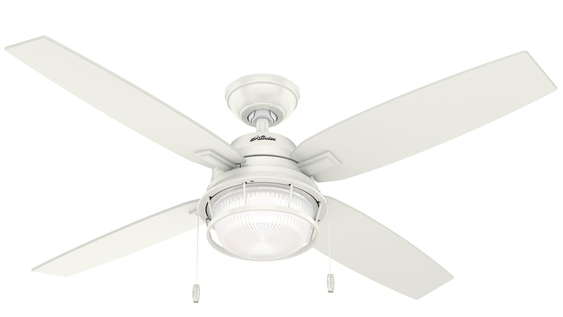 Hunter Ocala 2 Light 52 Indoor Outdoor Ceiling Fan In Fresh White Lightsonline Com