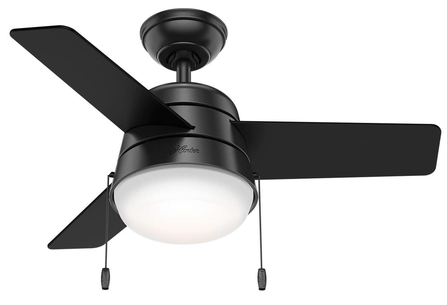 Hunter Aker 2 Light 36 Indoor Ceiling Fan In Matte Black Lightsonline Com
