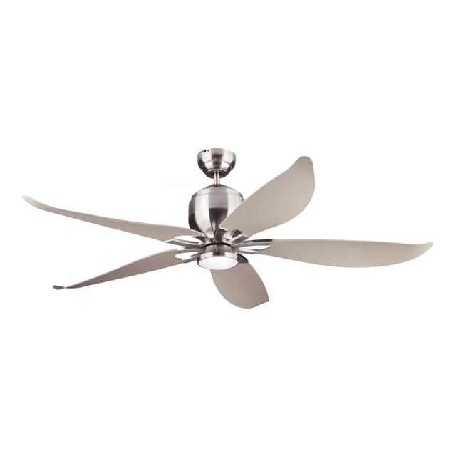 Monte Carlo Lily 56-inch Ceiling Fan in Brushed Steel