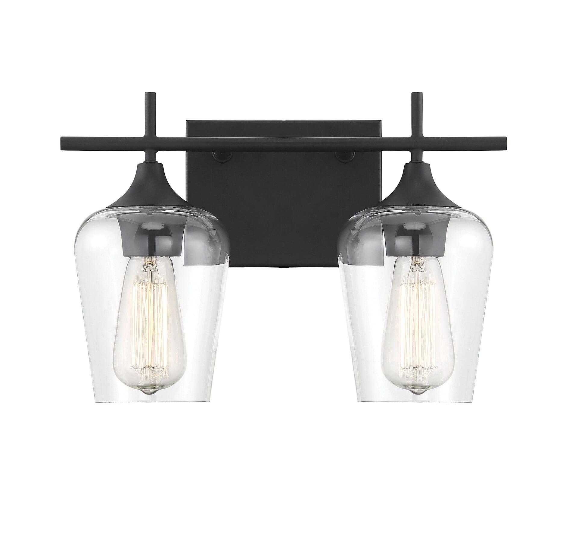 Savoy House Octave 2 Light Bathroom Vanity Light In Black Lightsonline Com