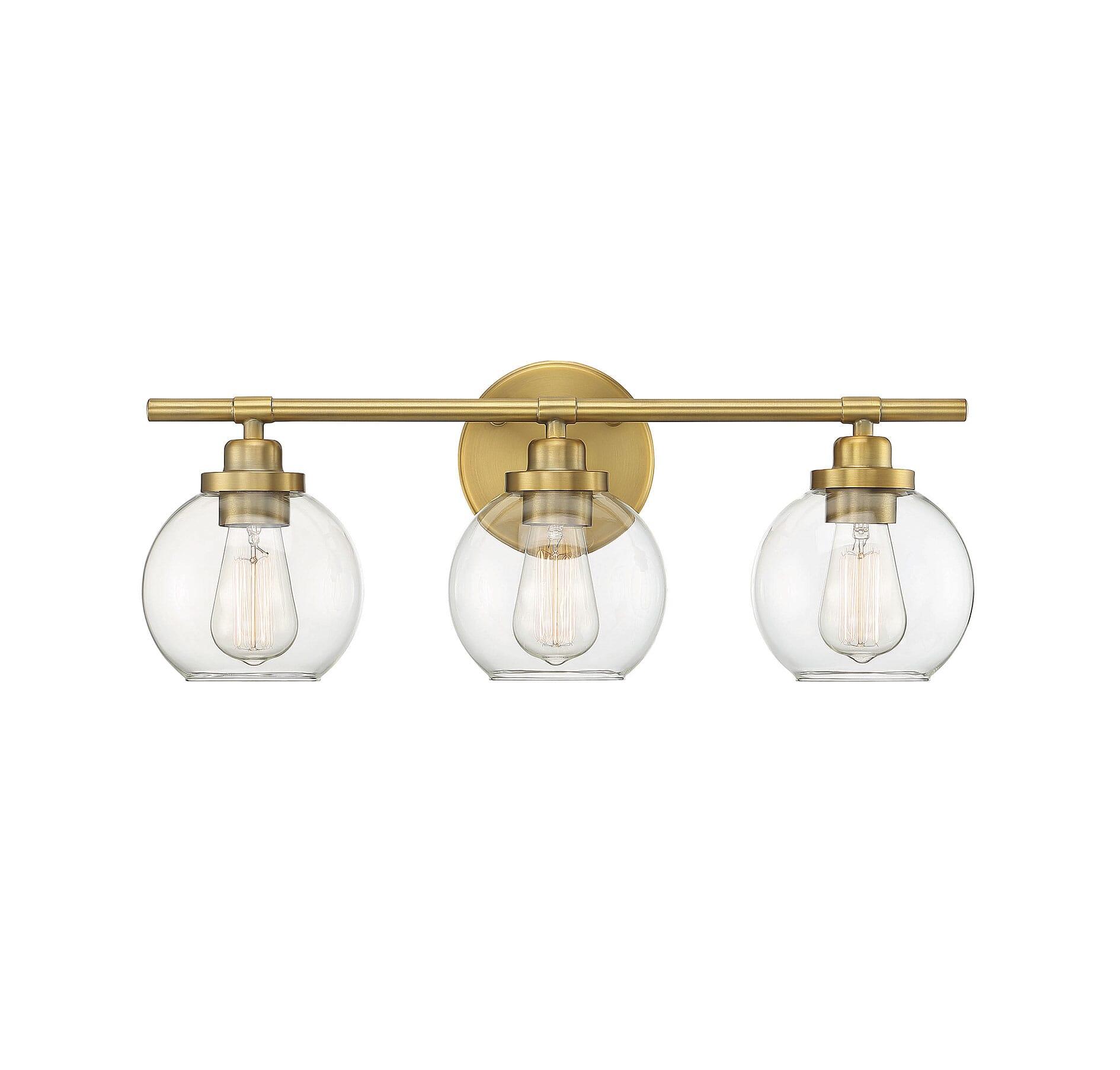 Savoy House Carson 3 Light Bathroom Vanity Light In Warm Brass Lightsonline Com