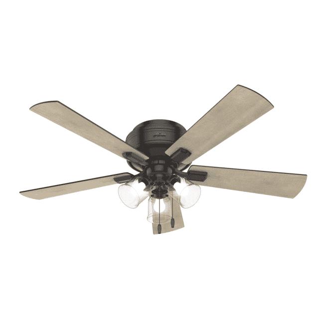 Hunter Crestfield 3 Light 52 Indoor Flush Mount Ceiling Fan In Noble Bronze Lightsonline Com