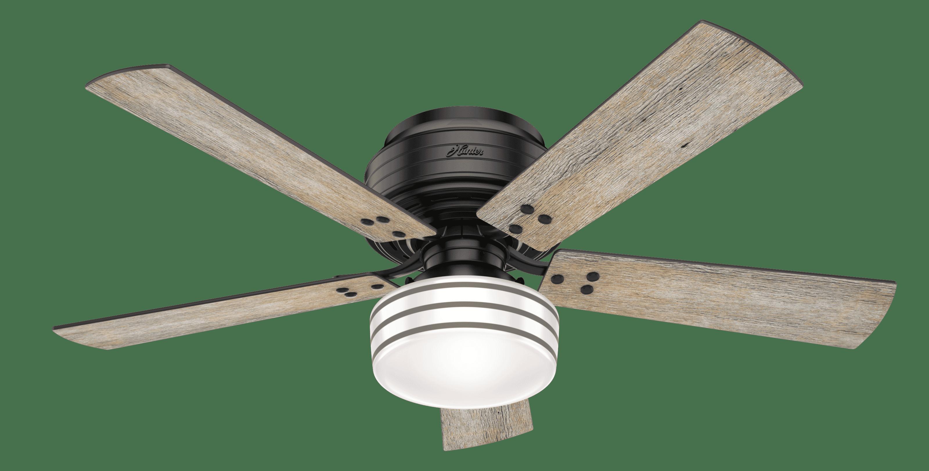 Hunter Fans Cedar Key Low Profile 52 Indoor Outdoor Ceiling Fan In Matte Black
