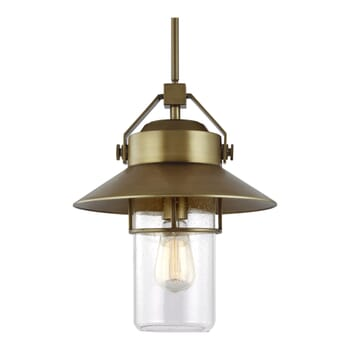 Feiss Boynton Outdoor Hanging Light in Painted Distressed Brass
