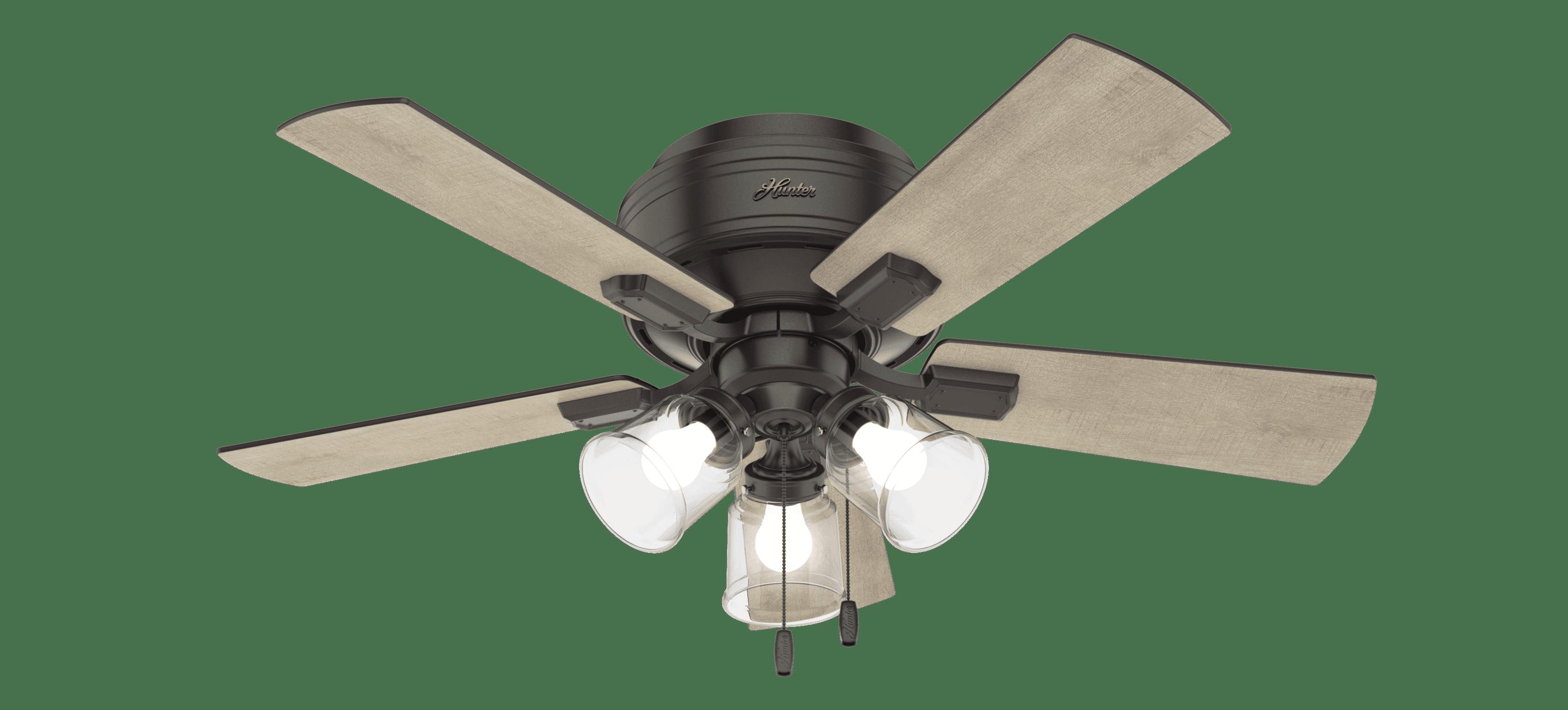 Hunter Crestfield 3 Light 42 Led Indoor Flush Mount Ceiling Fan In Noble Bronze Lightsonline Com
