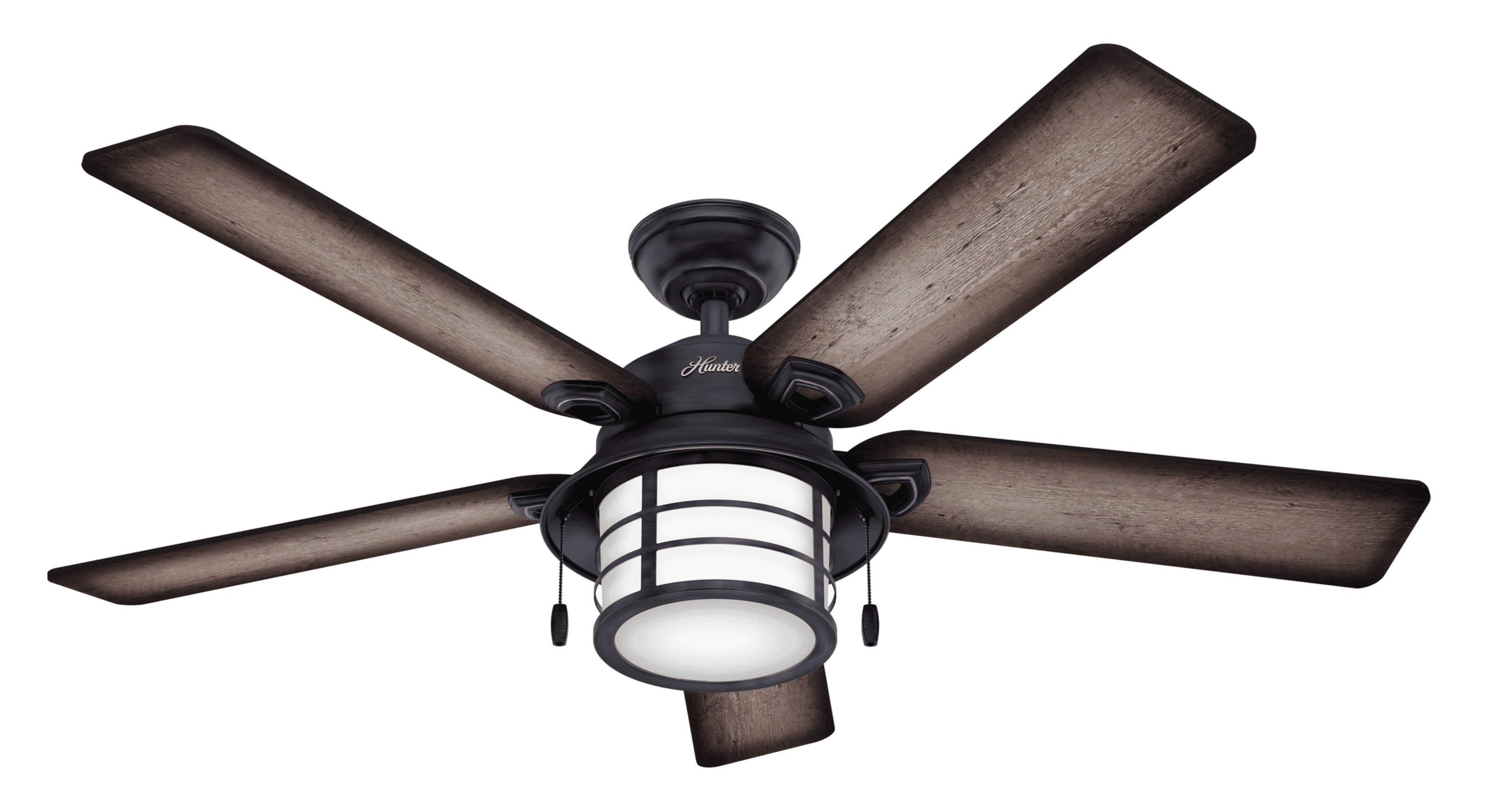 Hunter Fans Key Biscayne 2-Light 54-inch Indoor/Outdoor Ceiling Fan in Weathered Zinc