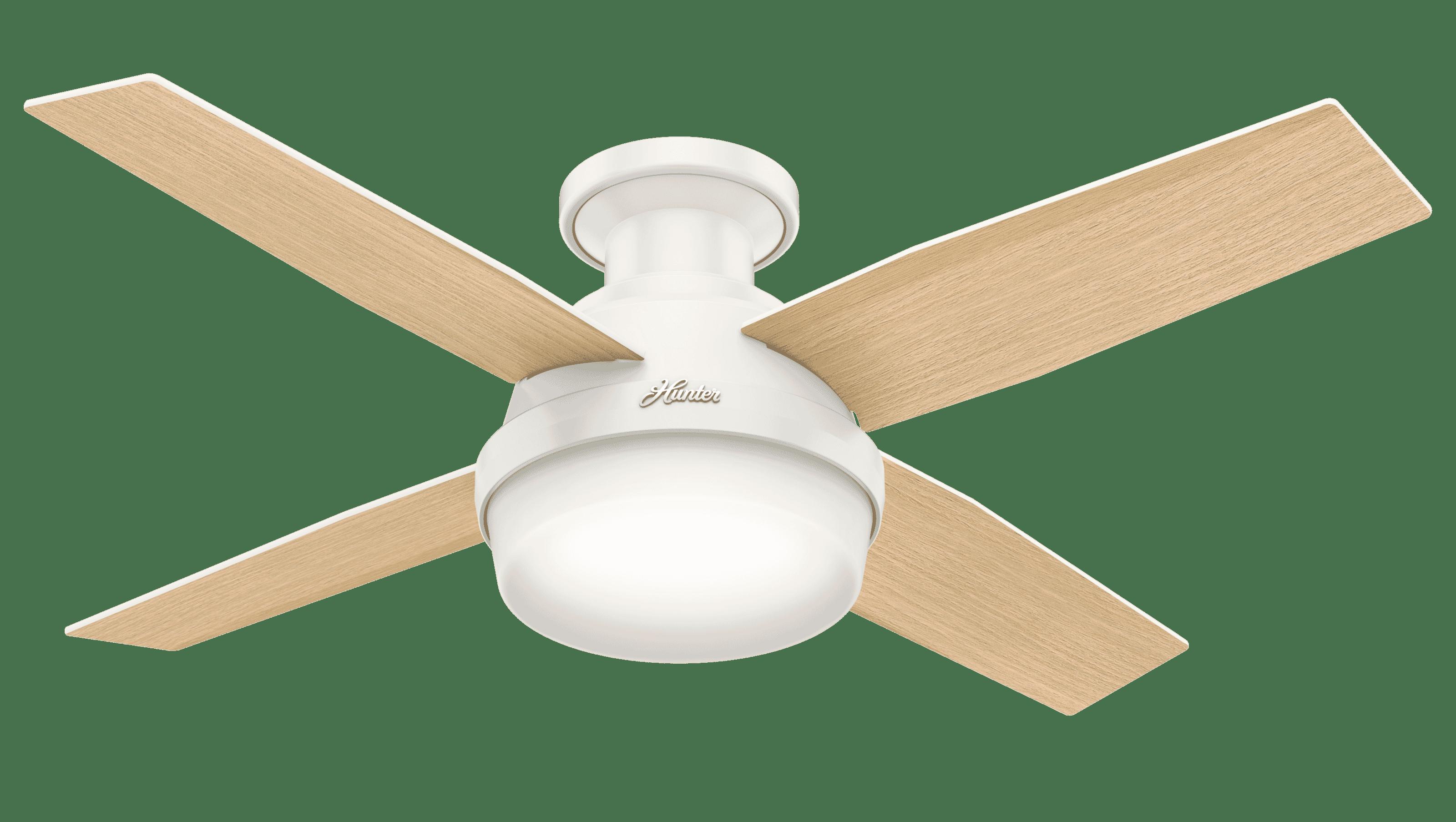 Hunter Dempsey 2-Light 44-inch Flush Mount Ceiling Fan in Fresh White