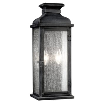 "Feiss Pediment 18.13"" 2-Light Outdoor Wall Sconce in Dark Weathered Zinc"