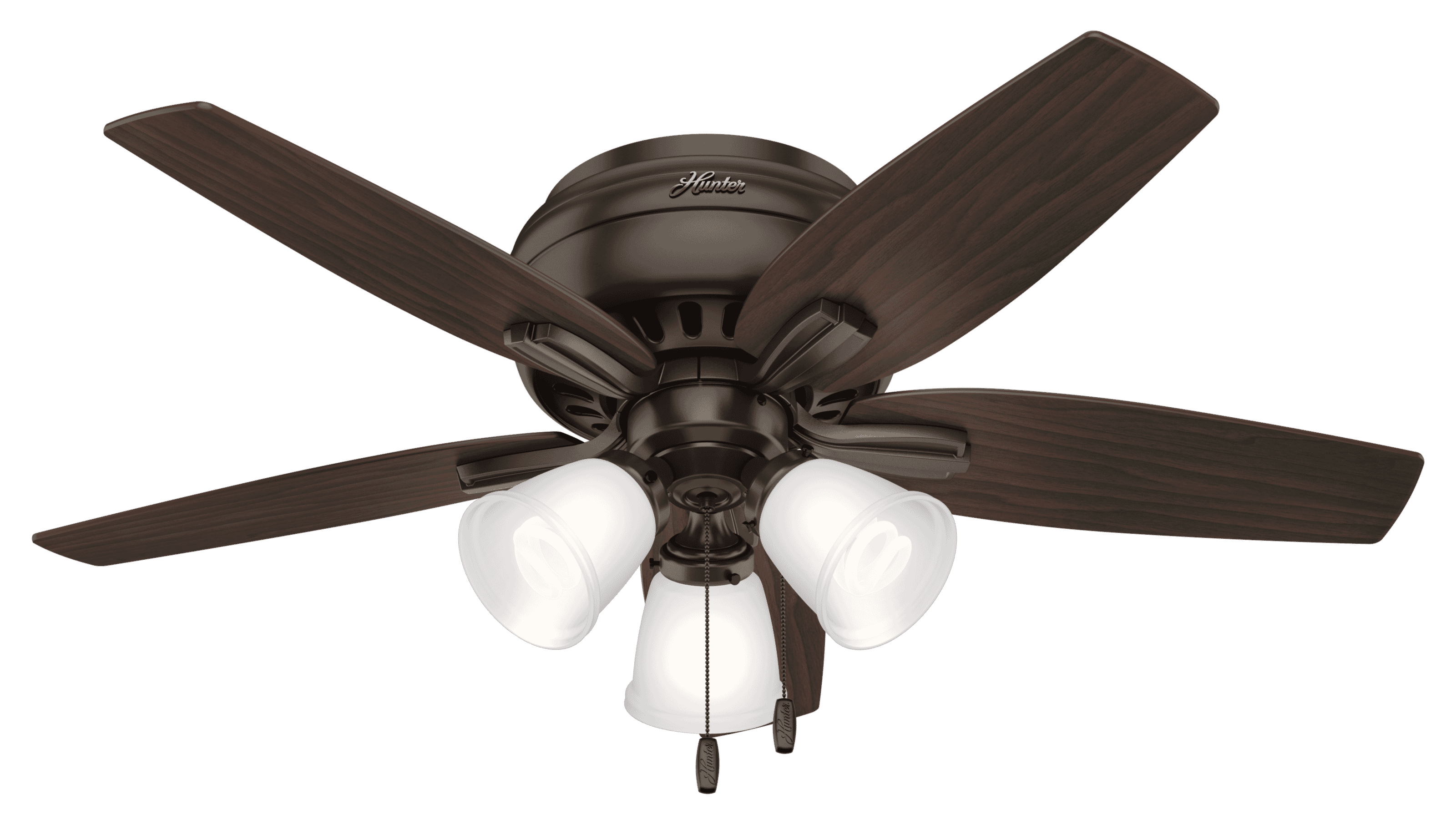 Hunter Newsome Low Profile 3 Light 42 Indoor Ceiling Fan In Premier Bronze Lightsonline Com