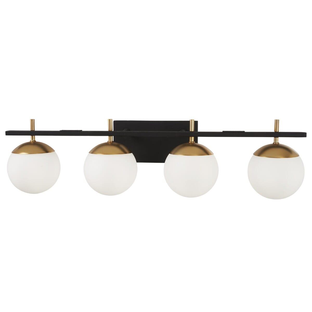George Kovacs P1354 618 Alluria 4 Light Bathroom Vanity Light In Weathered Black 844349024484 Ebay