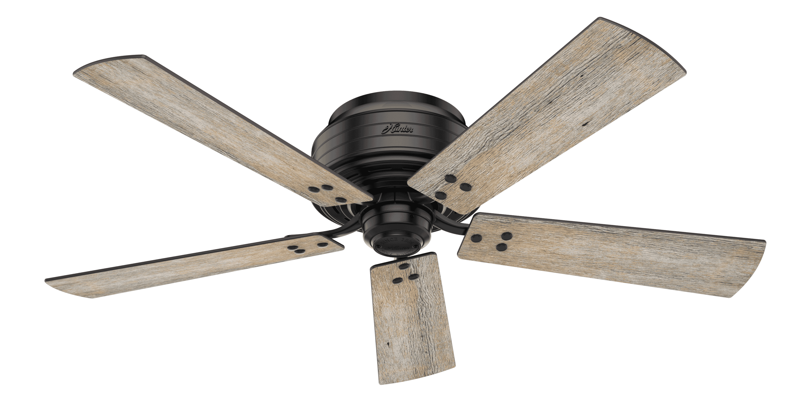 Hunter Fans Cedar Key Low Profile 52 Indoor Outdoor Ceiling Fan In Matte Black