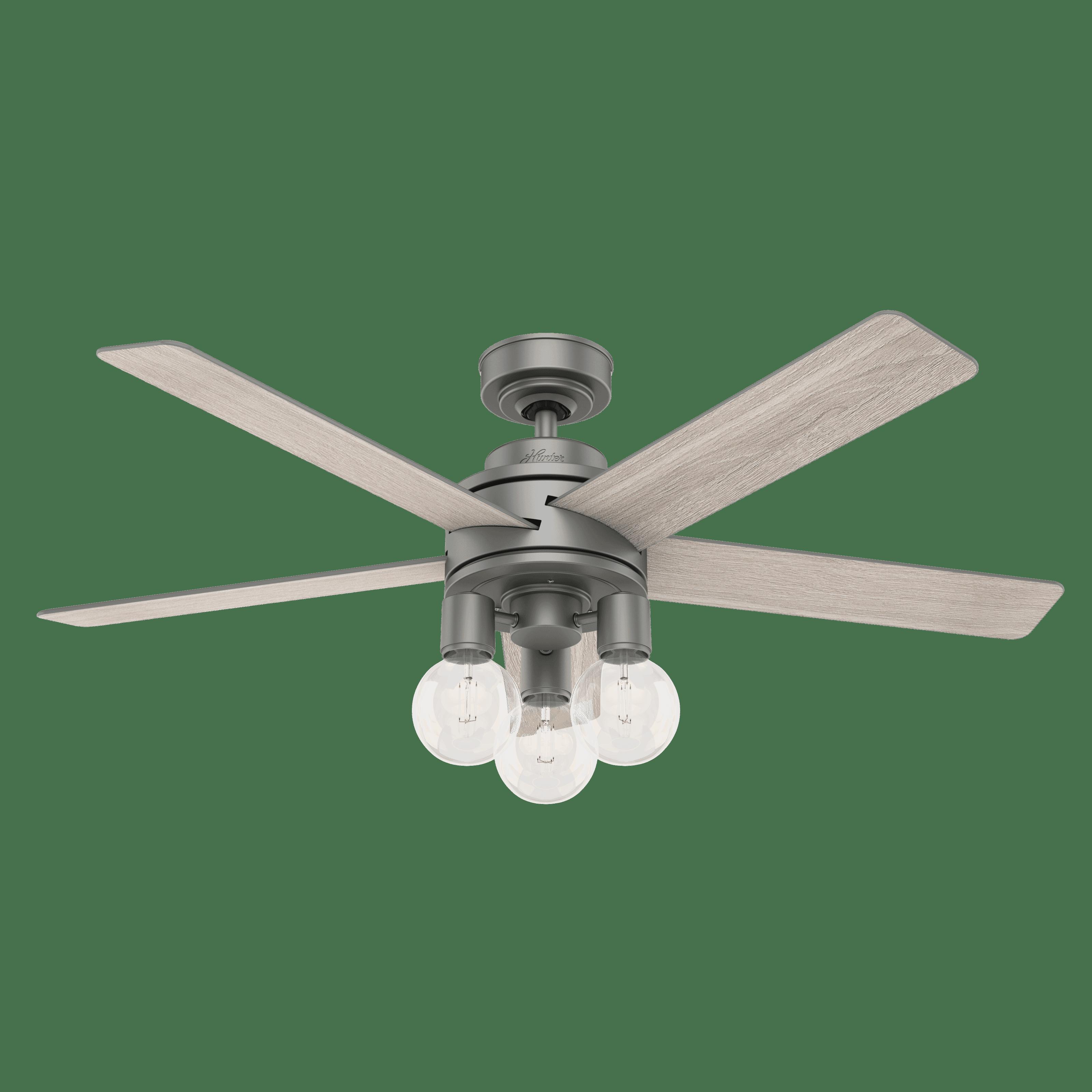 Hunter Fans 3 Light 52 Indoor Ceiling Fan In Matte Silver