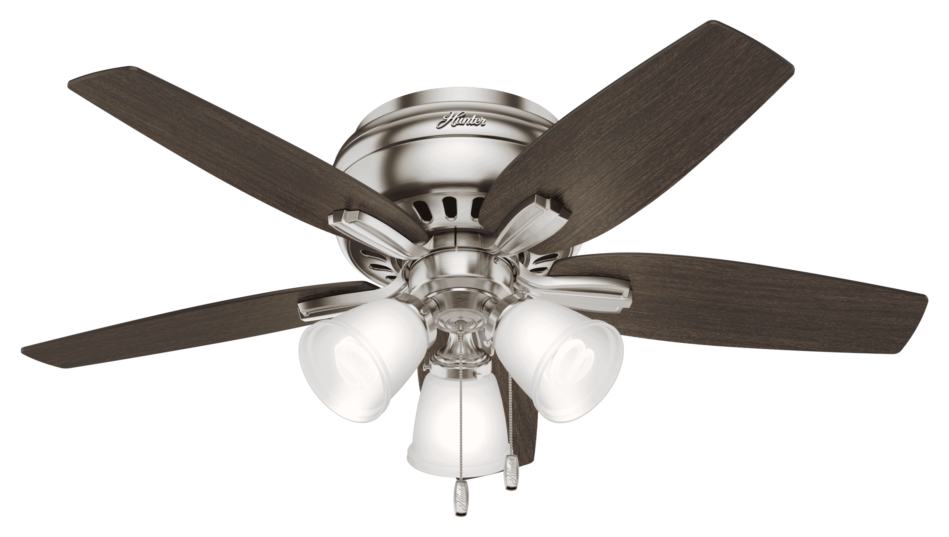 Hunter Fans Newsome Low Profile 3 Light 42 Indoor Ceiling Fan In Brushed Nickel