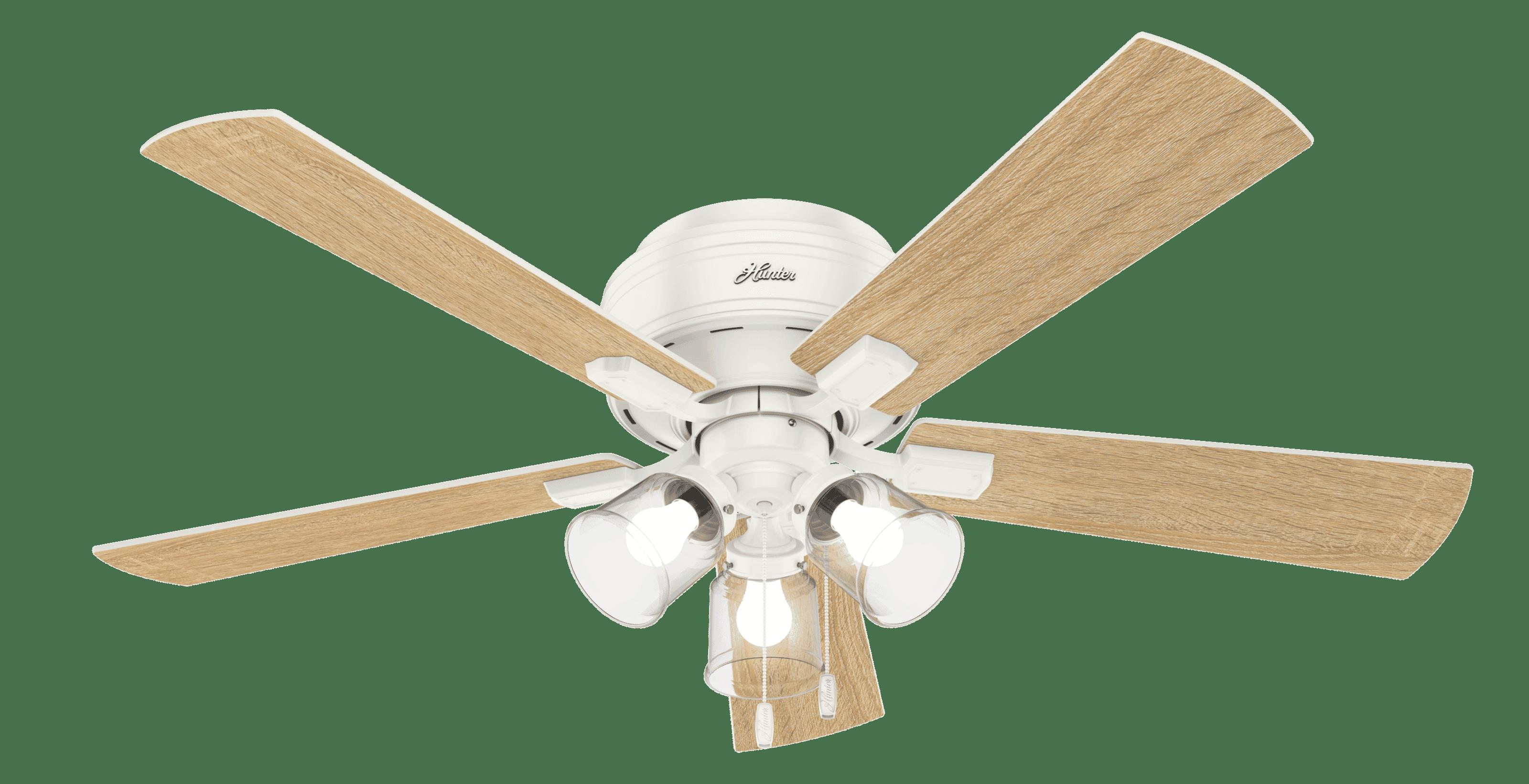 Hunter Crestfield Low Profile 3 Light 52 Indoor Ceiling Fan In Fresh White Lightsonline Com
