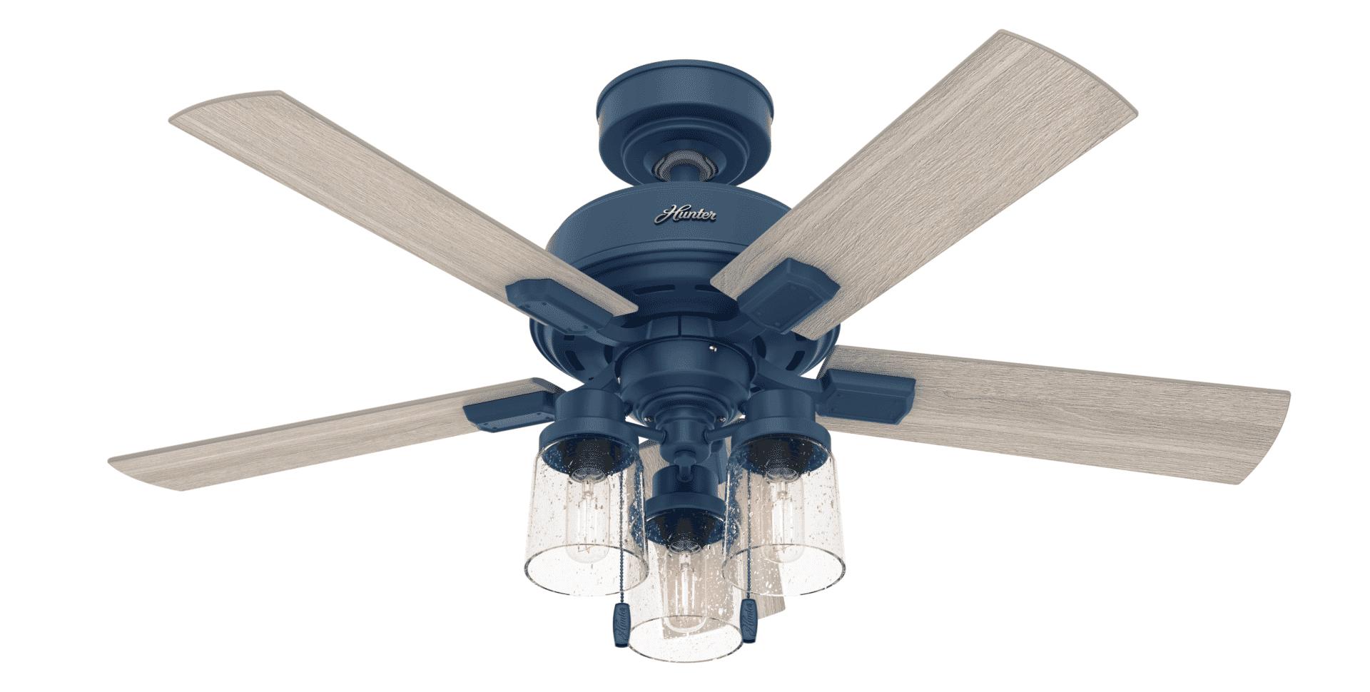Hunter Fans 3 Light 44 Indoor Ceiling Fan In Indigo Blue